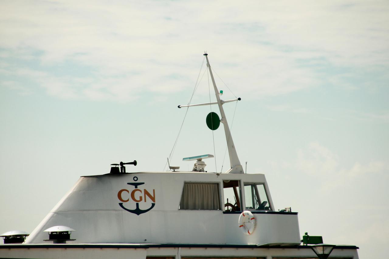 En haut du bateau, le capitaine du Général Guisan profite d'une vue parfaite pour naviguer.