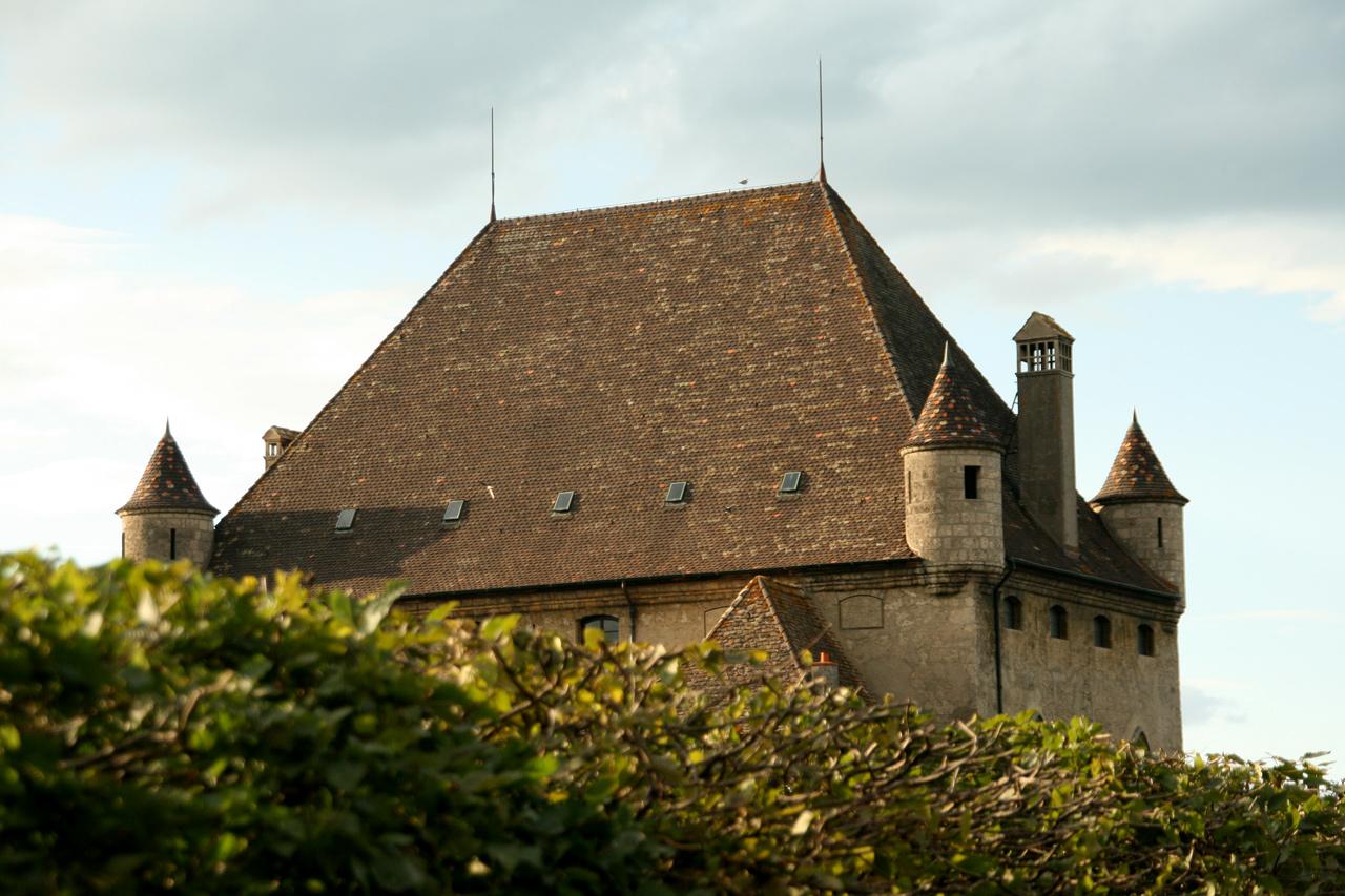 Derrière les haies du Jardin des Cinq Sens, le château d'Yvoire impose ses mystères.